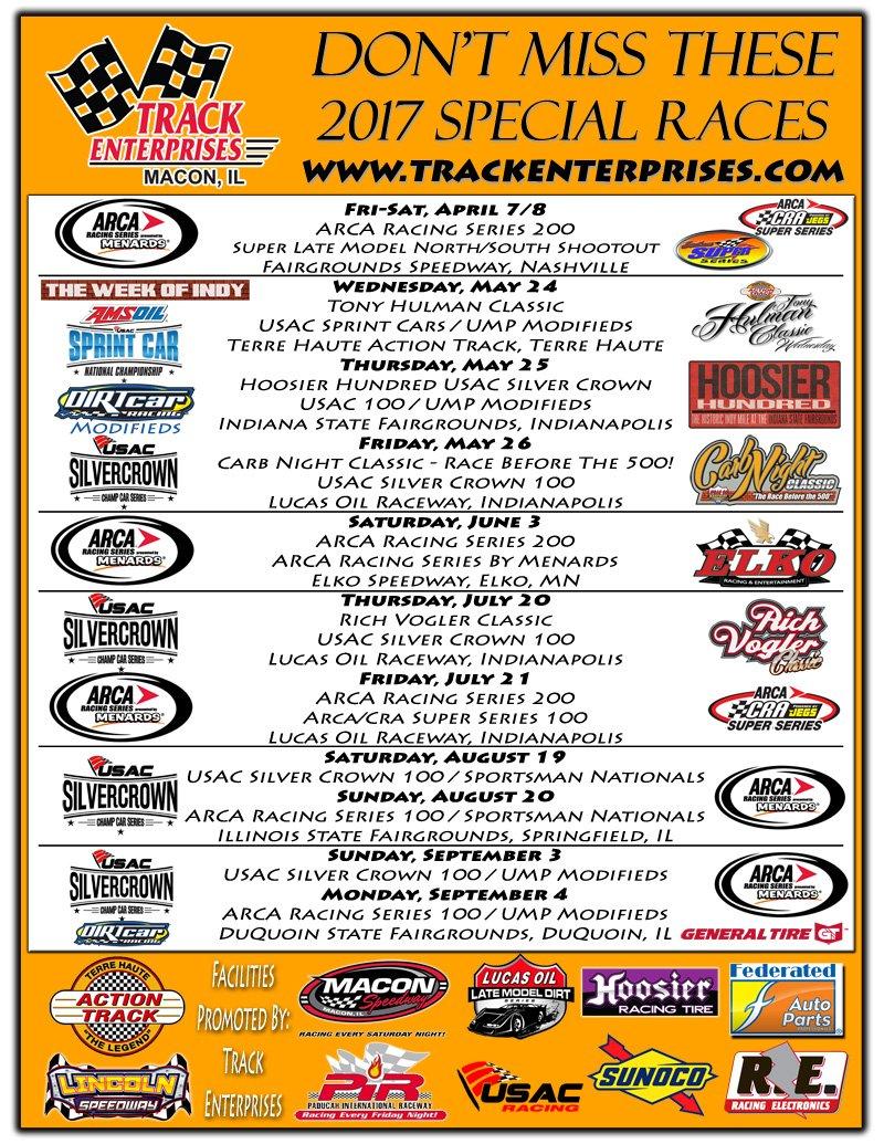 Track Enterprises Releases 2017 Special Event Schedule