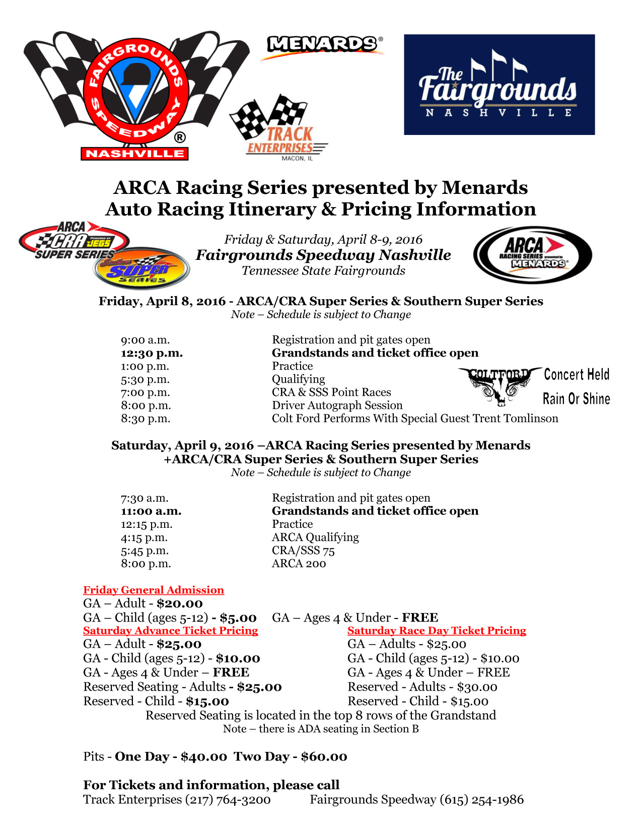 Springfield State Fair Auto Racing Itinerary