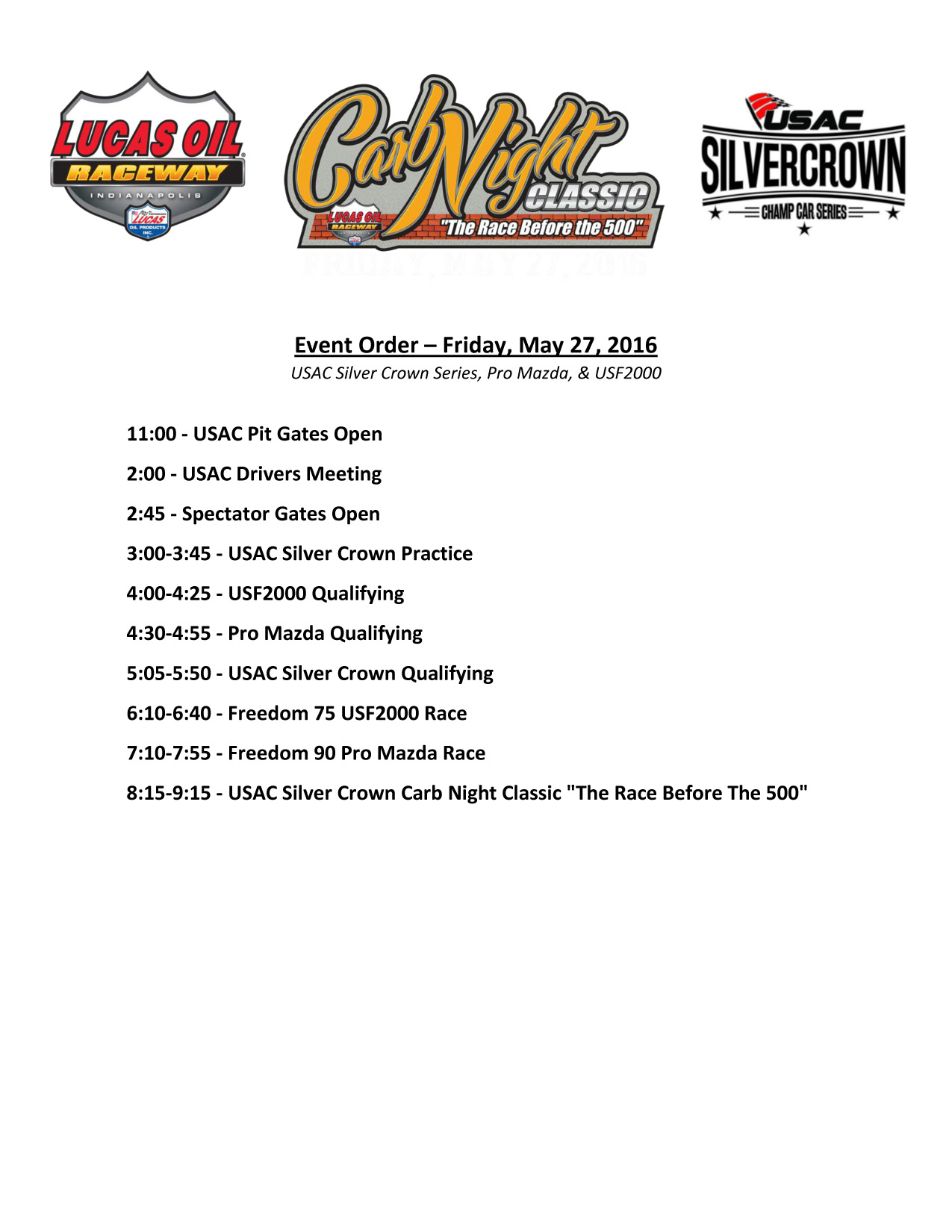 Carb Night Classic Schedule USAC