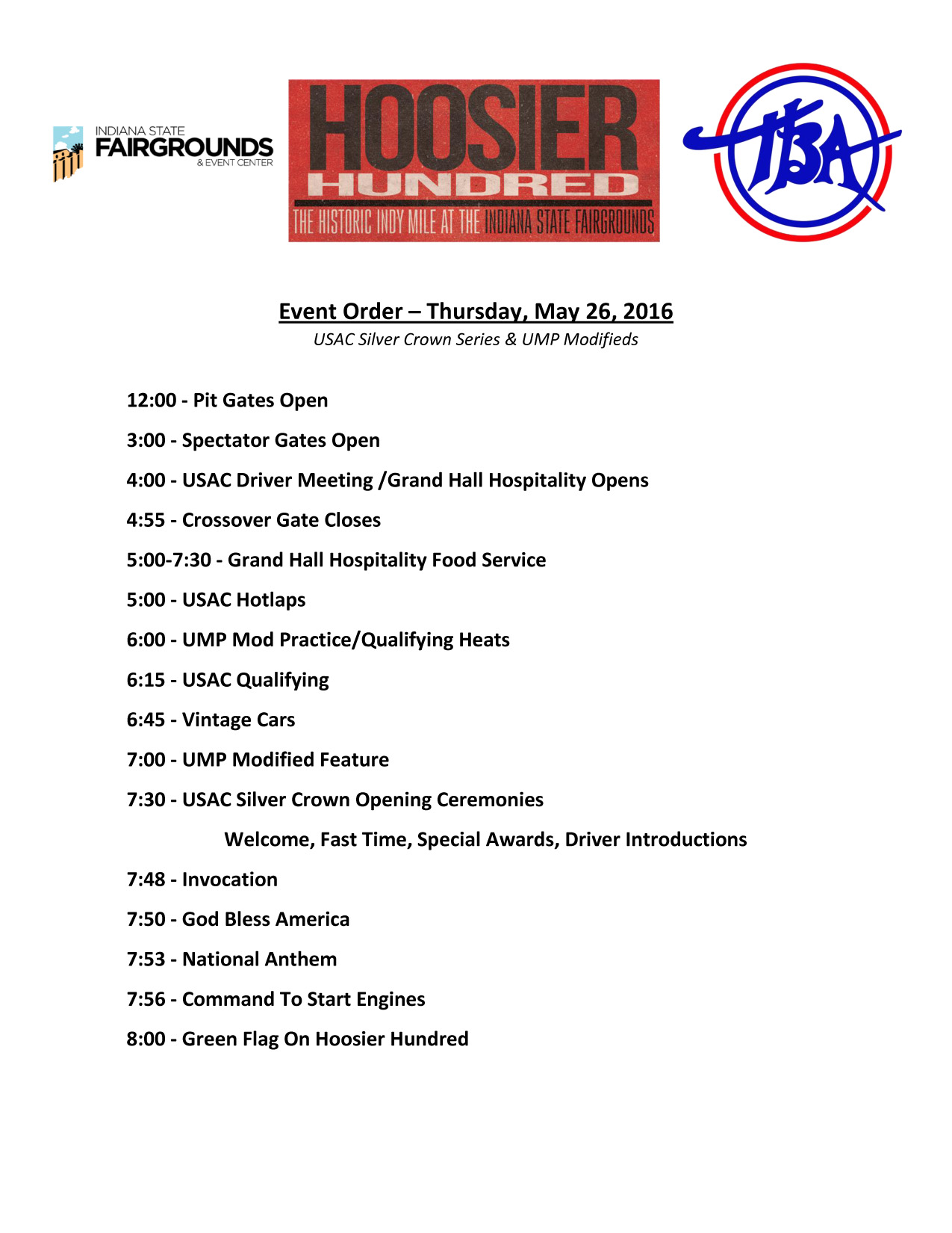 Hoosier Hundred 2016 Detailed Schedule