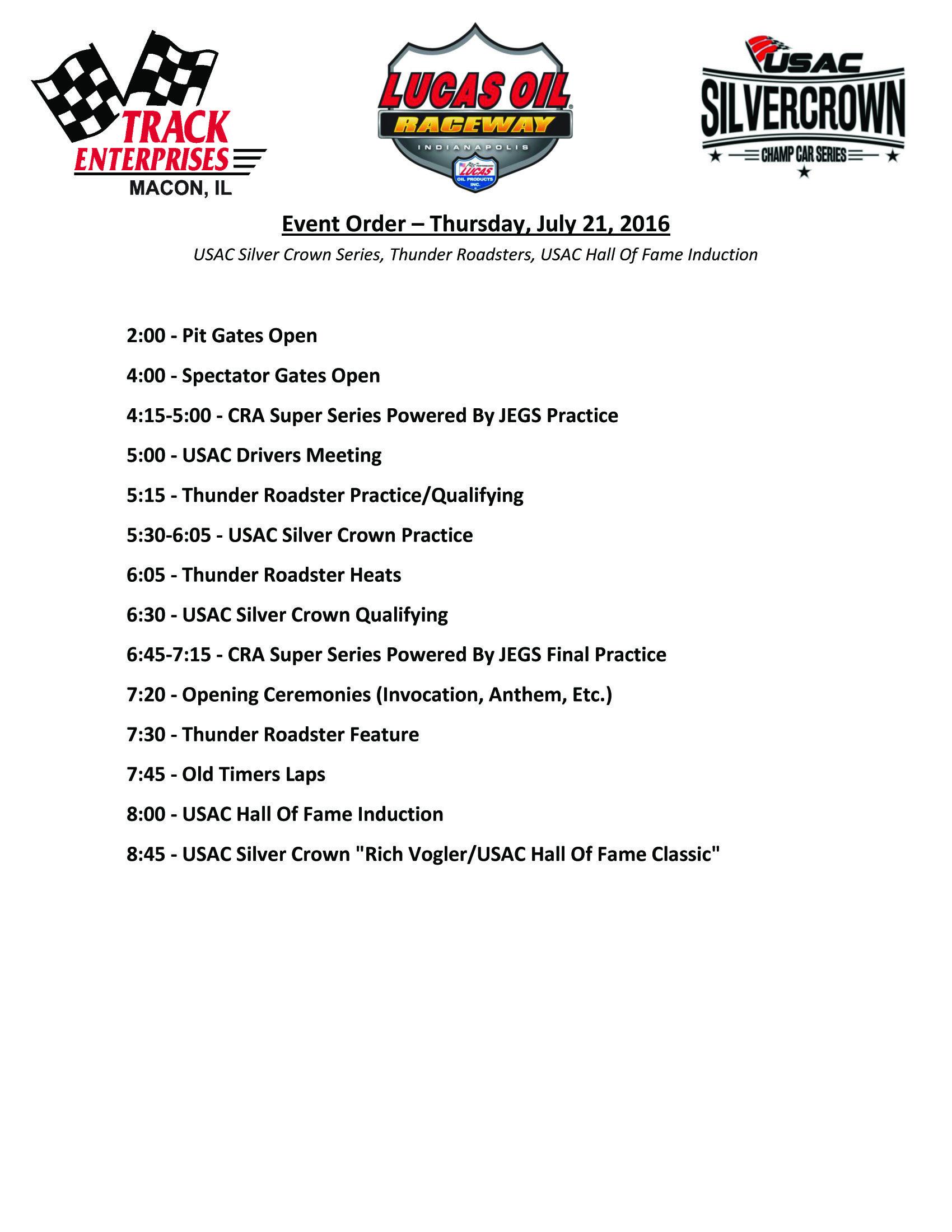 2016 Rich Vogler Classic Schedule USAC