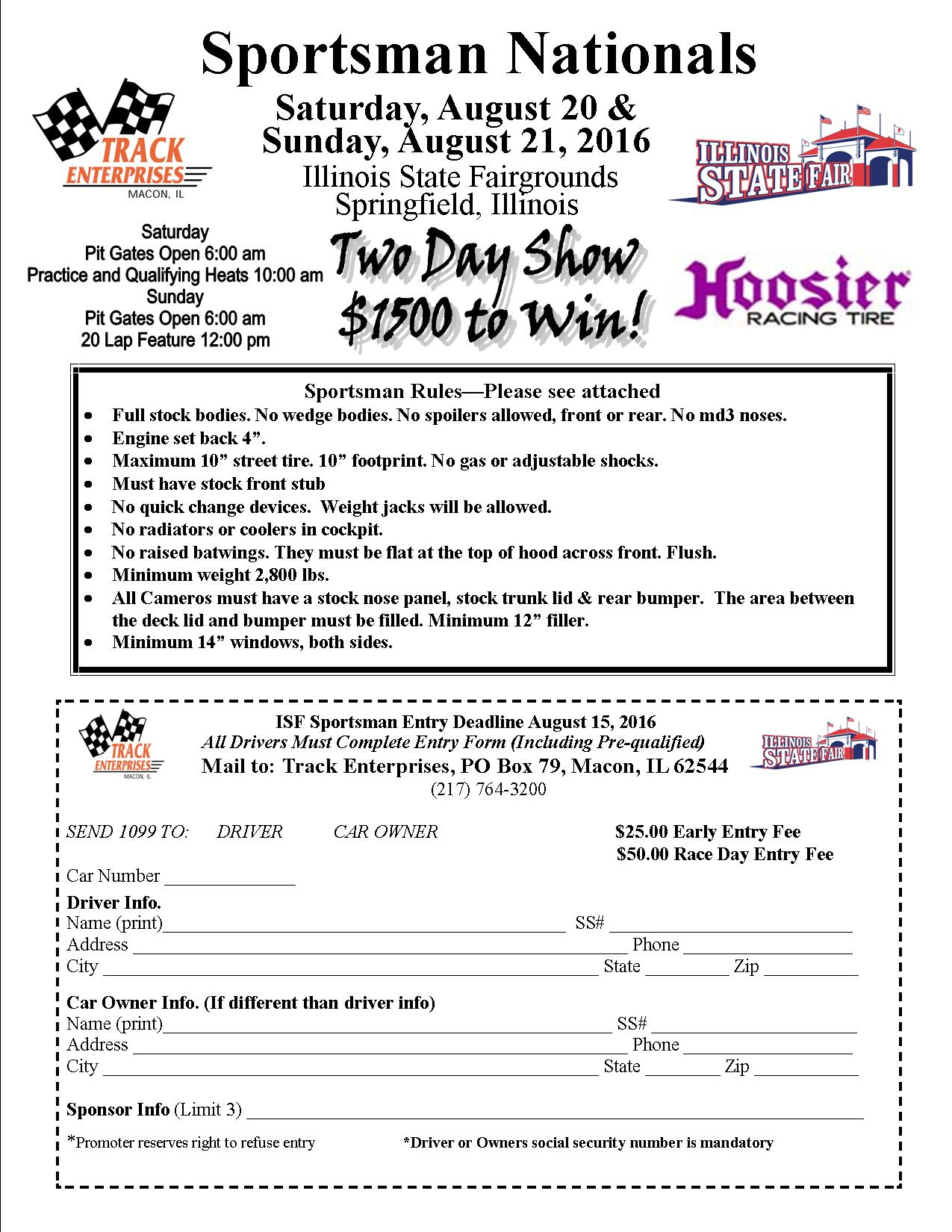 Sportsman entry form Illinois State Fair 2016