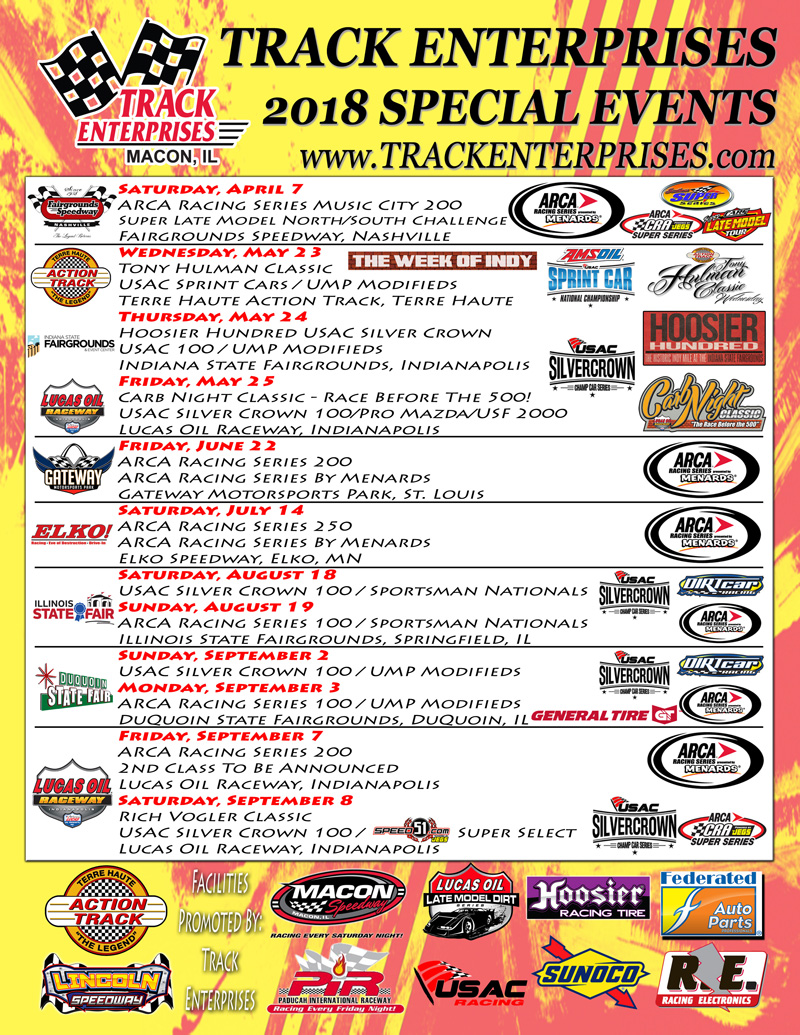 track enterprises releases 2018 special event schedule track