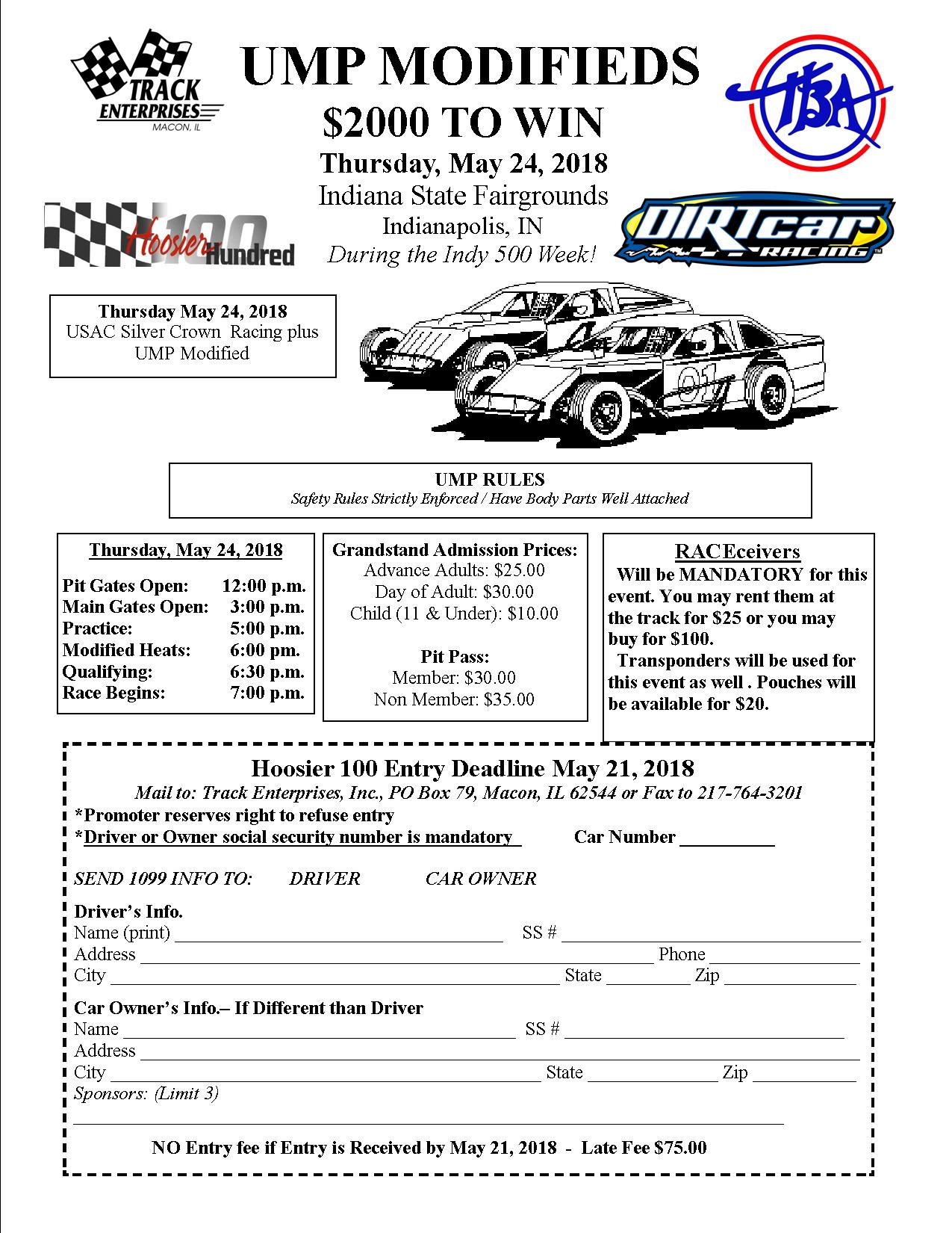 Hoosier 100 MOD Entry Form