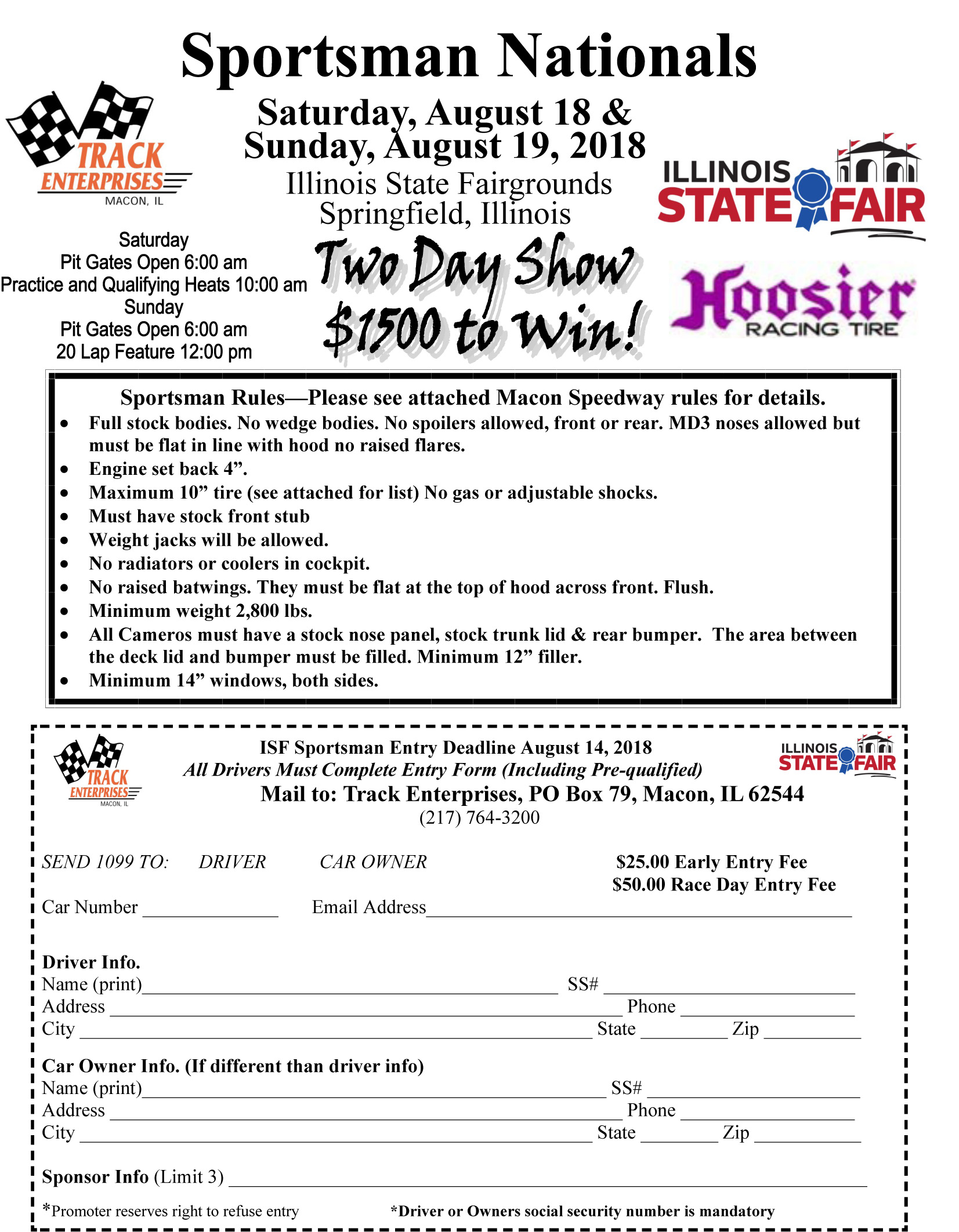 Sportsman Entry Form Illinois State Fair 2018