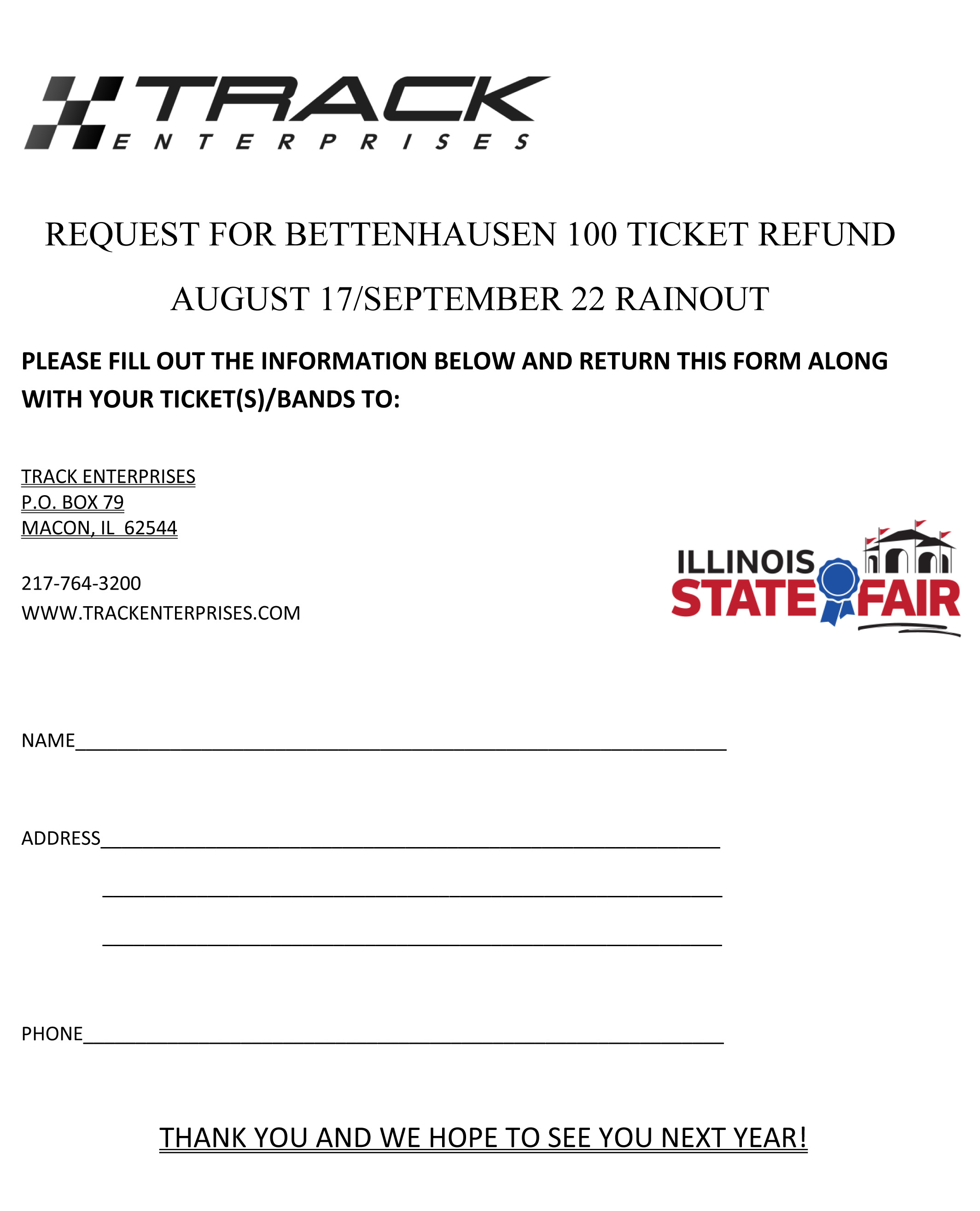 Illinois State Fair Refund Form